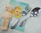 Ooh Baby Vintage Nursery Infant Toddler Doll Feeding Stainless N.S. Co. Spoon And Fork Set Lot