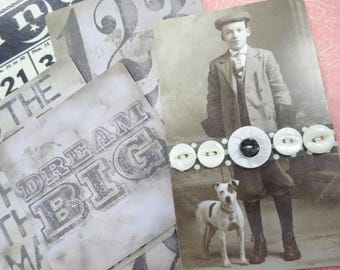 Sweet Crafty Button Card Lot Vintage Paper Ephemera Crafty Destash Tim Holtz Inspired Collection