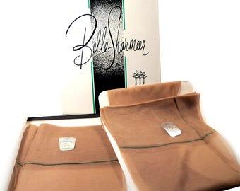 2 Pairs Vintage unworn Belle-Sharmeer Nylon Thigh High Stockings Size 10 NEVER WORN Seamless Glow