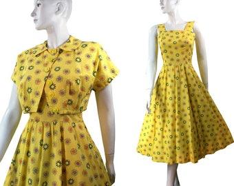 Vintage 1950s cotton Sunshine Yellow Flower Print Full Skirt Day Dress, Sundress w/ Jacket