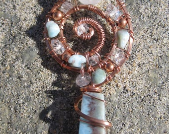 Sacred Spiral//Angelic Vision//Larimar, Double Terminated Pakimer Quartz, Moonstone, Copper Wire Wrap Pendant, One of a Kind, Art, Handmade