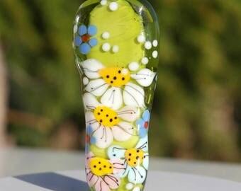 Glass focal bead , lampwork glass bead , flower bead , green bead , meadow, artisan focal bead , green lampwor bead