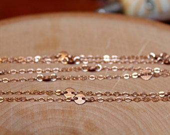 14K Rose Gold Cougar Town Disc Necklace, 30 34 38 44 50 60 inch, Small 4mm Disc, Jules Cobb, Courtney Cox, Cougar Town Inspired, Pink Gold