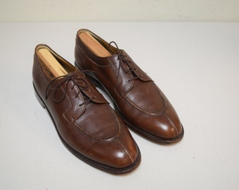 VINTAGE BROOKS BROTHERS Italy Pebble Grain Split Toe Tie Oxfords Size 10 1/2 D