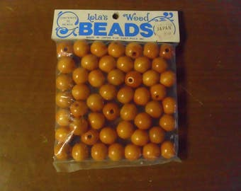 Vintage 1960's/1970's  Wooden Beads Deadstock  Package Of 50