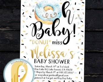 Donut Baby Shower Invitation, Watercolor Invite, Boy, Blue Black Gold Foil, Sprinkle Shower, Donuts, DIY, Printed or Printable Invitations