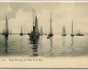Sailing Ships Boats New York Bay New York City NYC 1907c postcard