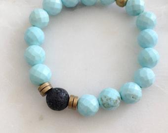 Turquoise Bracelet - Handmade - Essential Oil Bracelet
