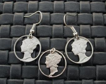 Pierced Mercury Dimes - Earrings & Pendant / Charm