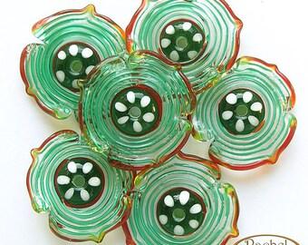 Green, Red and White Lampwork Flowers Glass Beads, FREE SHIPPING, Handmade Glass Beads - Rachelcartglass