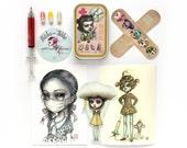 Sick Girls Club Collectors Set - custom First Aid Kit, Mini Art Print, Sticker set, Secret message pills & pen by Mab Graves