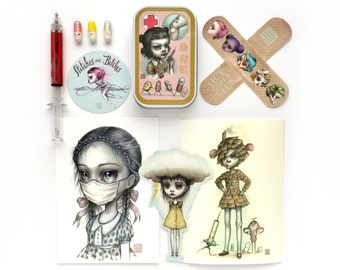 Sick Girls Club Collectors Set - custom First Aid Kit, Mini Art Print, Sticker set, Secret message pills & pen by Mab Graves