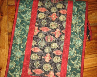"Christmas Table Runner, Red Green Ornaments, 13 x 46"" Quilted Reversible 100% Cotton Fabrics"