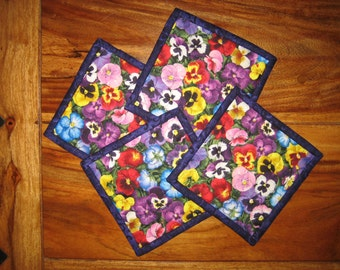 """Fabric Coasters, Blue Pink, Purple and Yellow Pansies 5 x 5"""" Quilted Drink mats 100% cotton fabrics"""