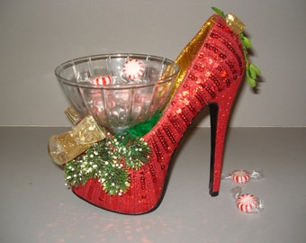Red Sequin  holiday high heel candy dish
