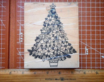 Christmas Tree Rubber Stamp by Stampa Tampa 1992