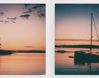 Sunset Set of 2 Instant Photos - Decorate with a vintage feel - Free Domestic Shipping