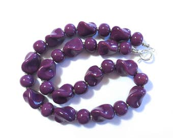 Kazuri Beaded Necklace, Fair Trade, Violet Colored Ceramic Necklace
