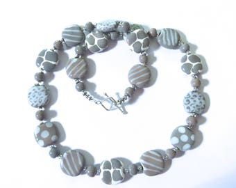 Grey and White Beaded Necklace, Ceramic Jewelry, Kazuri Bead Necklace, Statement Necklace