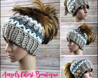 READY TO SHIP - Crochet Messy Bun Beanie, Top Knot Beanie, Running hat, Ponytail Beanie, Mom Bun by Angel Chest Boutique