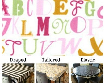 Laminated cotton aka oilcloth tablecloth custom size and fit choose elastic, tailored or draped Annette Tatum Alphabet Letters Pink