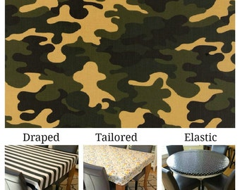 Laminated cotton aka oilcloth tablecloth custom size and fit choose elastic, tailored or draped Robert Kaufman camoflauge