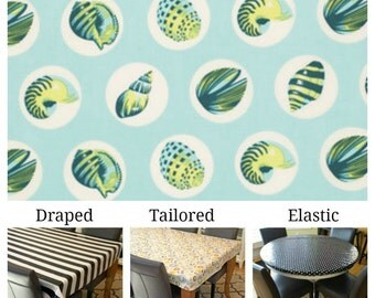 Laminated cotton aka oilcloth tablecloth custom size and fit choose elastic, tailored or draped Tula Pink Salt Water Shell Dots aqua blue