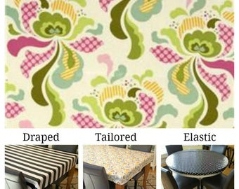 Laminated cotton aka oilcloth tablecloth custom size and fit choose elastic, tailored, or draped Heather Bailey Freshcut Swirls