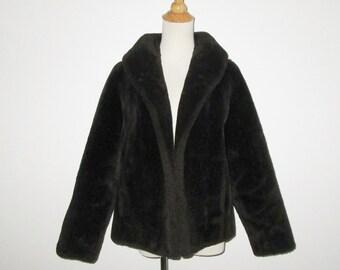 Vintage 1950s Faux Fur Coat / 50s Dark Brown Faux Fur Coat / 50s Chocolate Brown Faux Fur Jacket By Imperial O'llegro - Size M