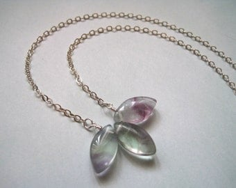 Sterling Flourite Neckace, Lotus Pendant, Sterling Silver Chain, Gemstone Pendant Necklace, Yoga