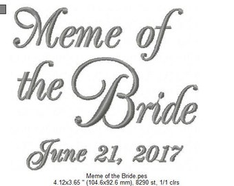 Meme of the Bride - Embroidered Handkerchief - Wedding Gift - Simply Sweet Hankies