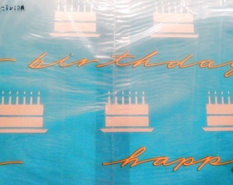 1 Sheet Happy Birthday Wrapping Paper Vintage Turquoise Birthday Cake Paper Gift Wrap Retro Unisex Sealed New Made in USA
