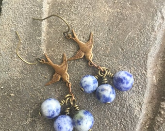 Sodalite and vintage brass earrings, gemstone earrings, blue earrings, stone earrings, bird charm, vintage earrings, bird lover, gift