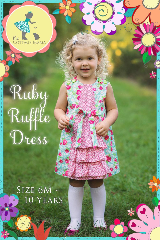 PRINTED Sewing Pattern: Ruby Ruffle Dress - Original Printed Sewing Pattern - Size 6 Month through 10 Years