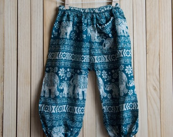 Deep Teal Elephant Printed Cotton Pants /Gypsy Pants/Aladdin Pants/Genie Pants/Yoga Pants /Thai Pants Size-M