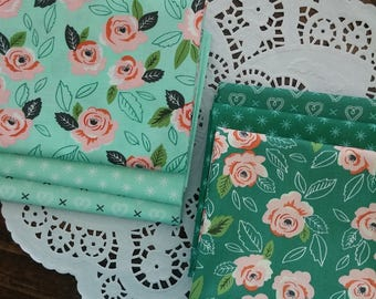 Sugar Pie Fat Quarter Bundle featuring Aqua and Turquoise - Handcut - Custom Bundle
