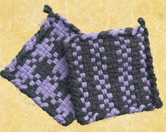 David's Potholders - Cotton Potholders - Lavender and Gray Potholders - Urban Chic Potholders - Woven Pot Holders  - Set of 2