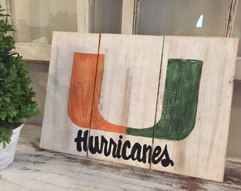 University of Miami wooden sign - Miami Hurricanes wooden sign - Miami U wooden sign - miami hurricanes sign