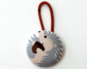 Hedgehog Fabric Covered Giant Button Pony Holder