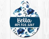Dog Tag Cat Tag Dog Tags for Dogs Personalized Blue Floral Dog ID Tags Pet Tags Pet ID Tag Pet id Tags for Dog Tag ID Custom Dog Tag