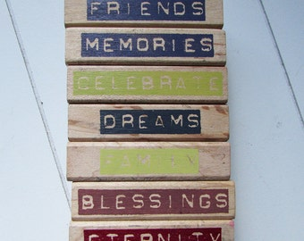 Wood mounted word stamps