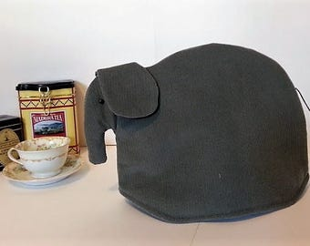 Elephant tea cozy, tea cosy: Edward the grey corduroy elephant tea cozy