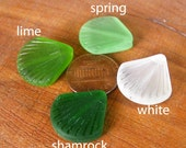 2 / 4 pcs 20mm White - Spring - Shamrock - Lime - Green small shell sea beach glass bead frosted recycled - length drilled pendant - PICK