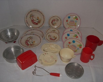 Toy Dishes...Bakeware. Toaster, Colander, Masher, Metal & Plastic Plates, Plastic Cups, Cake Pan, Tiny Plastic Coca Cola