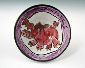Pink Pig Ceramic Cereal Bowl - Majolica Bowl - Ice Cream Dish - Child's Gift - Pottery Bowl -Small Serving Bowl - Cartoon Pig - Farm Animal