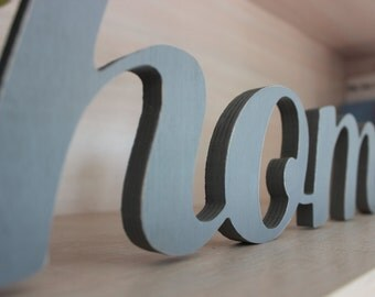 Home Sign in Connected Wooden Letters