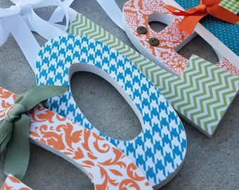 Wooden Letters, Earthy Woodland Theme for GIRLS, Moss Green, Dark Teal, Rust Orange in Damask, Dots and more i