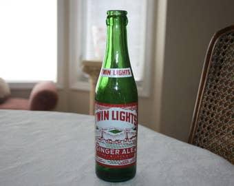 Vintage Twin Lights Ginger Ale Green Glass Bottle 7 Fluid Ounces Thomas Wilson Company Rockport, Massachusetts