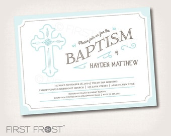 Vintage Cross Christening Baptism Baby Dedication Printable Invitation