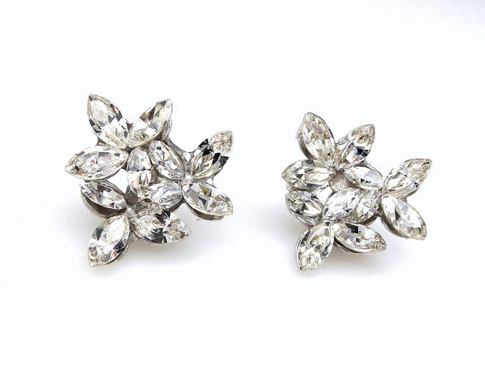 christmas prom bridal wedding bridesmaid gift Swarovski clear fancy marquise flower crystal rhinestone rhodium silver stud post earrings